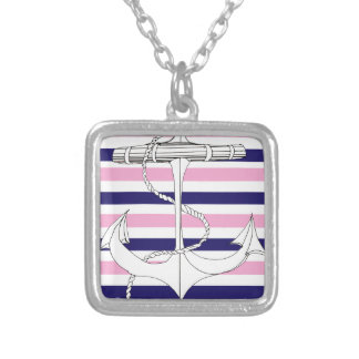 Tony Fernandes 8 mix stripe anchor Silver Plated Necklace