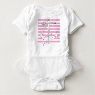 Tony Fernandes 8 pink stripe anchor Baby Bodysuit