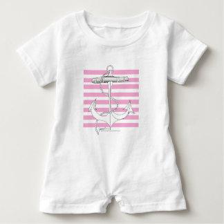 Tony Fernandes 8 pink stripe anchor Baby Romper