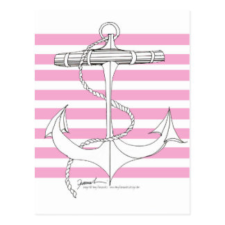 Tony Fernandes 8 pink stripe anchor Postcard