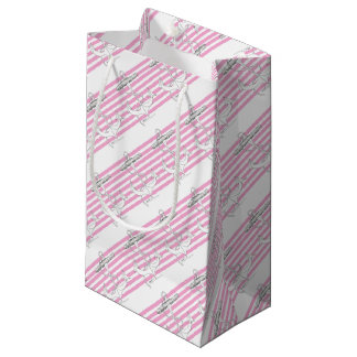 Tony Fernandes 8 pink stripe anchor Small Gift Bag