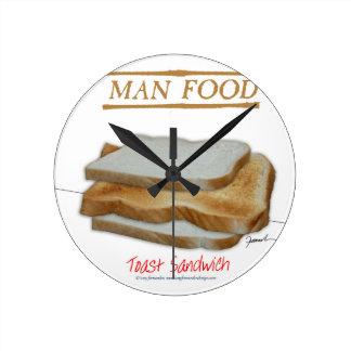 Tony Fernandes's Man Food - toast sandwich Round Clock