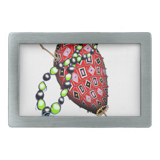 Tony Fernandes's Red Ruby Fab Egg Rectangular Belt Buckle