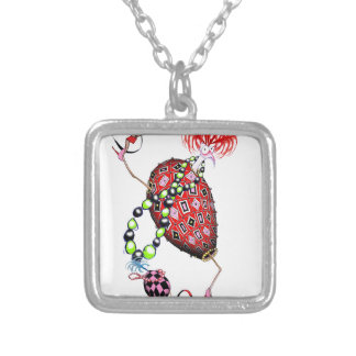 Tony Fernandes's Red Ruby Fab Egg Silver Plated Necklace