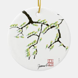 tony fernandes sakura and green birds ceramic ornament