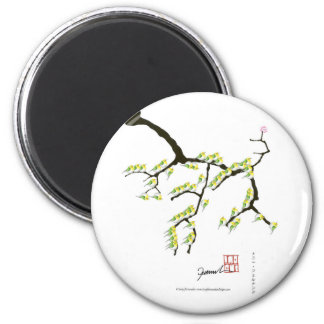 tony fernandes sakura and green birds magnet