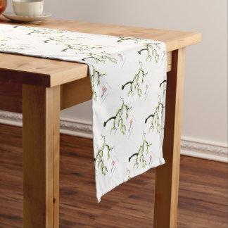 tony fernandes sakura and green birds short table runner