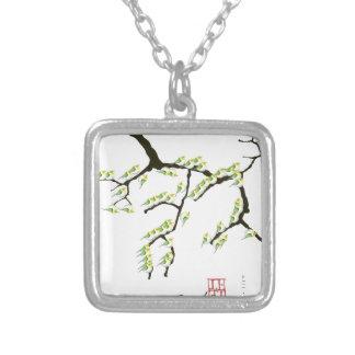 tony fernandes sakura and green birds silver plated necklace