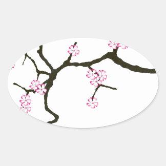 Tony Fernandes Sakura Blossom 2 Oval Sticker