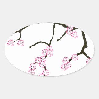Tony Fernandes Sakura Blossom 3 Oval Sticker