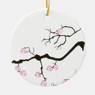 tony fernandes sakura blossom and pink bird ceramic ornament