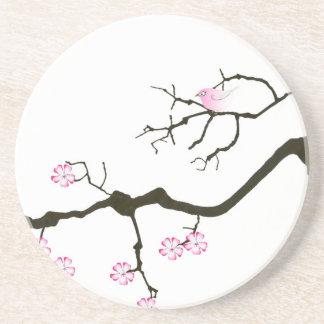 tony fernandes sakura blossom and pink bird drink coaster