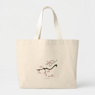 tony fernandes sakura blossom and pink bird large tote bag