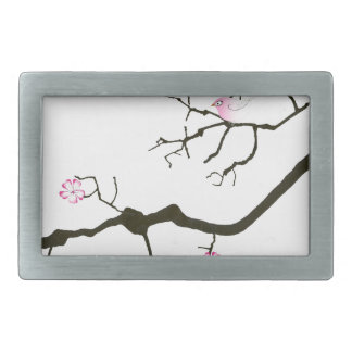 tony fernandes sakura blossom and pink bird rectangular belt buckle
