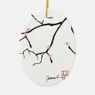 tony fernandes sakura with 7 pink birds 2 ceramic ornament