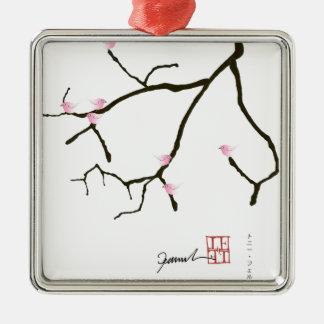 tony fernandes sakura with 7 pink birds 2 metal ornament