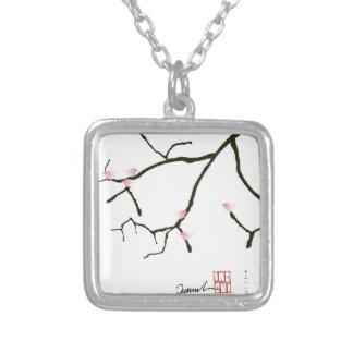 tony fernandes sakura with 7 pink birds 2 silver plated necklace