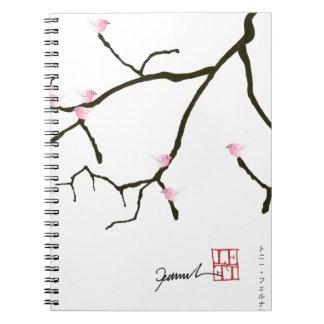 tony fernandes sakura with 7 pink birds 2 spiral notebook