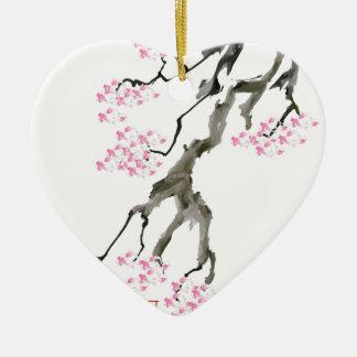 tony fernandes sakura with pink goldfish ceramic ornament