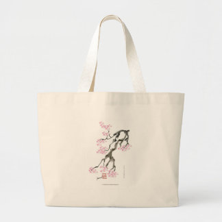 tony fernandes sakura with pink goldfish large tote bag