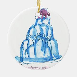 tony fernandes's blueberry jello cat round ceramic ornament