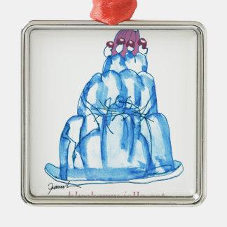 tony fernandes's blueberry jello cat Silver-Colored square ornament