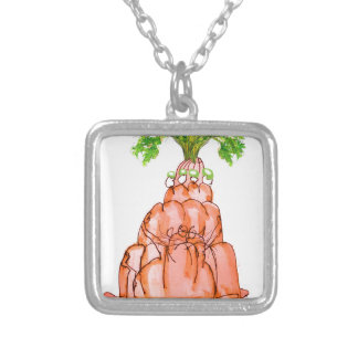 tony fernandes's carrot jello cat silver plated necklace