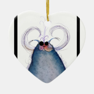 tony fernandes's cool hipster cat-snap ceramic ornament