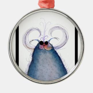 tony fernandes's cool hipster cat-snap metal ornament