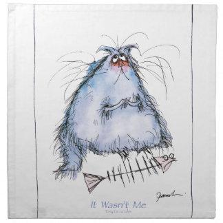 tony fernandes's 'it wasn't me' cat cartoon napkin