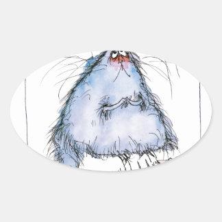 tony fernandes's 'it wasn't me' cat cartoon oval sticker