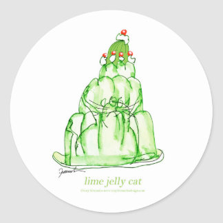 tony fernandes's lime jelly cat classic round sticker