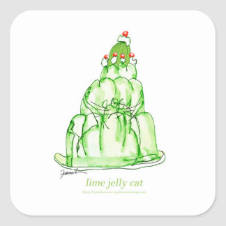 tony fernandes's lime jelly cat square sticker
