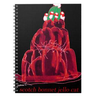 tony fernandes's scotch bonnet jello cat spiral notebook