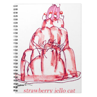 tony fernandes's strawberry jello cat spiral notebook