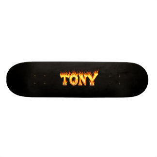 Tony skateboard fire and flames design.