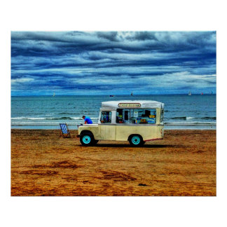 Too Cold For Ice Cream!? Van Seaside Beach Poster