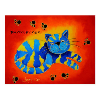 Too Cool for Cats! -Smiley Smug Red Cat Postcard