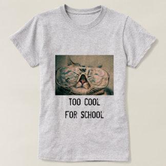 Too Cool for School Cute Cat  Custom Color T Shirt