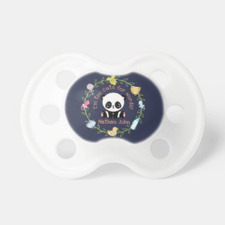 Too Cute For Words Personalized Baby Panda Wreath Pacifier