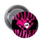 Too cute goth punk zebra heart fuschia black skull pins
