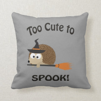 Too Cute To Spook! Hedgehog Witch Throw Pillow