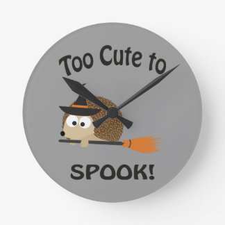 Too Cute To Spook! Hedgehog Witch Wall Clock