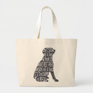 Too Dark to Read Large Tote Bag