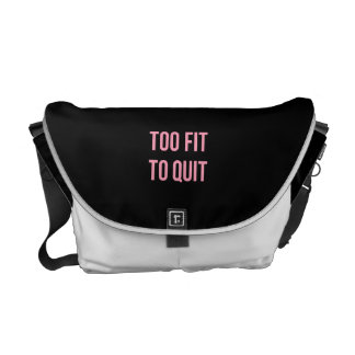 Too Fit Workout Funny Quotes Black Pink Gym Commuter Bags