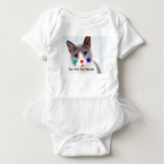 """Too Hot For Words"" Cat With Clown Makeup Baby Bodysuit"