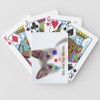 """Too Hot For Words"" Cat With Clown Makeup Bicycle Playing Cards"