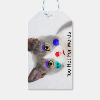"""""""Too Hot For Words"""" Cat With Clown Makeup Gift Tags"""