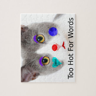"""""""Too Hot For Words"""" Cat With Clown Makeup Jigsaw Puzzle"""