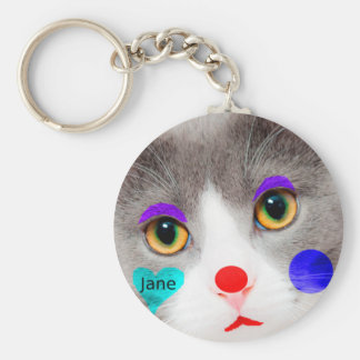 """""""Too Hot For Words"""" Cat With Clown Makeup Keychain"""